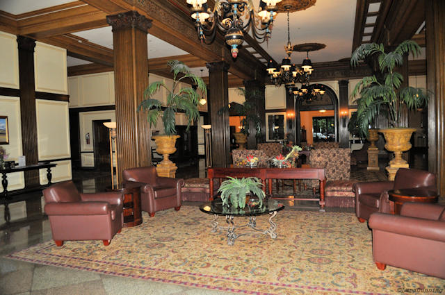 The lobby of the Marcus Whitman Hotel.