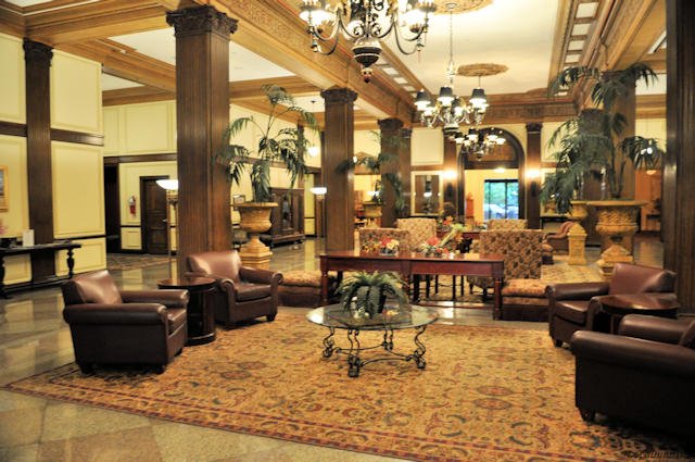 The lobby of the Marcus Whitman Hotel