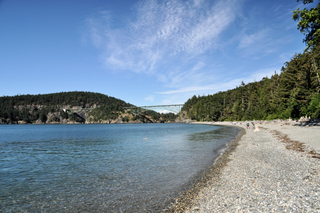 View of Deception Pass Bridge from North Beach on Whidbey Island.