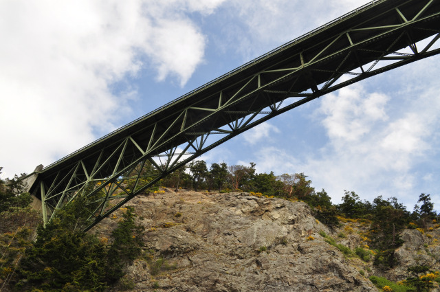 Seeing the belly of Deception Pass Bridge.