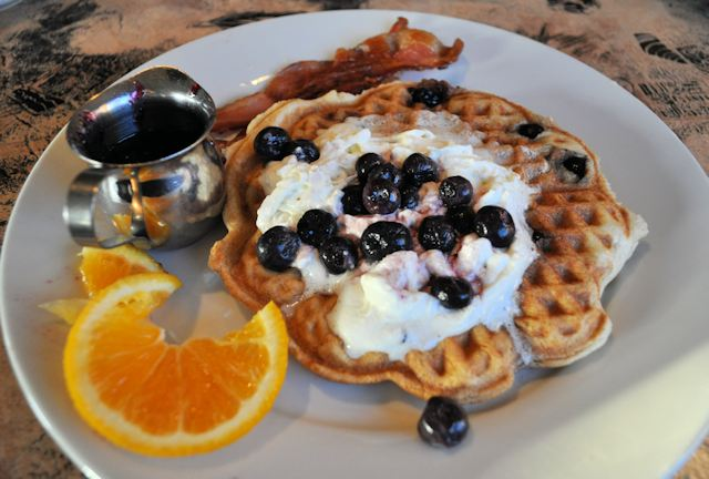 Housemade Waffles with Blueberries
