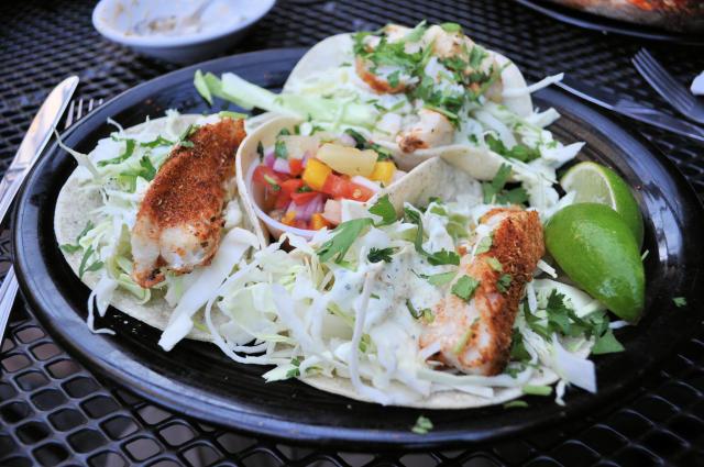 La Conner Brewing Co. fish tacos.