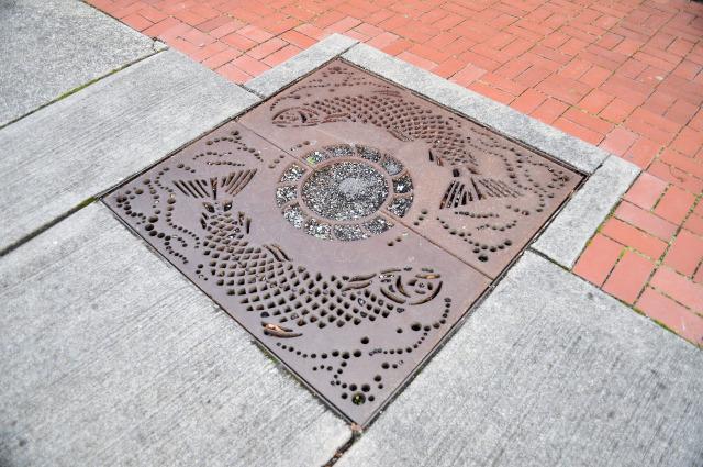 Drain art in La Conner, Washington.