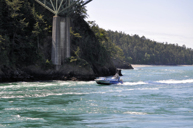 The Island Whaler cruising through Deception Pass.