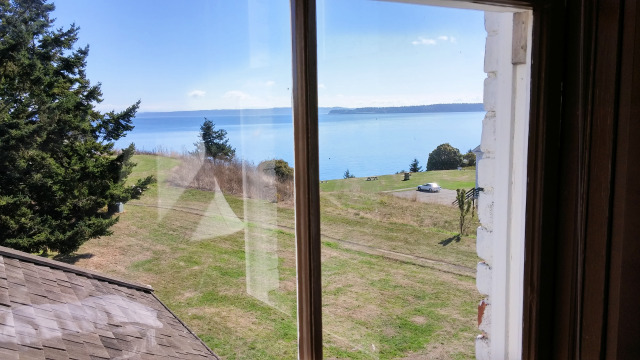 View from the bedroom at Alexander's Castle at Fort Worden near Port Townsend.