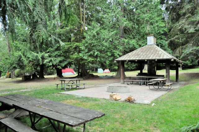 The group campsite at Washington Park in Anacortes.