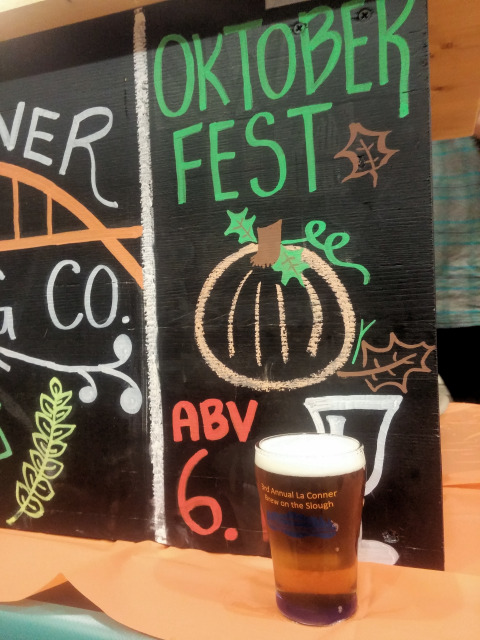 A sample of La Conner Brewing Oktoberfest beer at Brew on the Slough in La Conner, Washington.