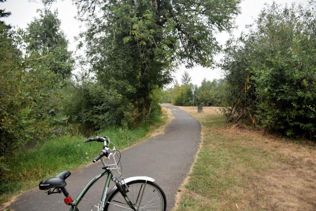 Biking the Row River Nature Trail.