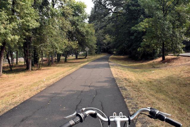 Biking the covered bridge scenic bikeway.