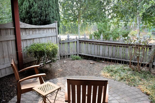 Garden patio at the Village Green Resort.