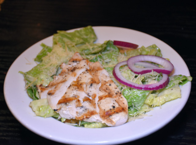Chicken Caesar salad at the Fireside Lounge.