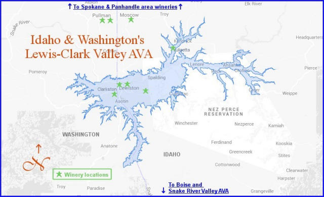 Map of Lewis Clark Valley AVA.