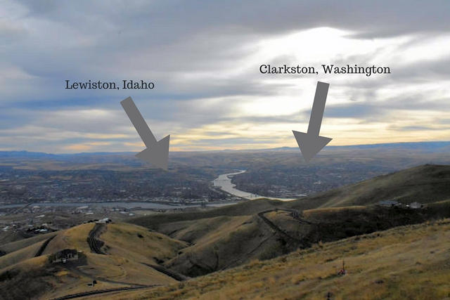 The towns of Lewiston and Clarkston in the Lewis Clark Valley.
