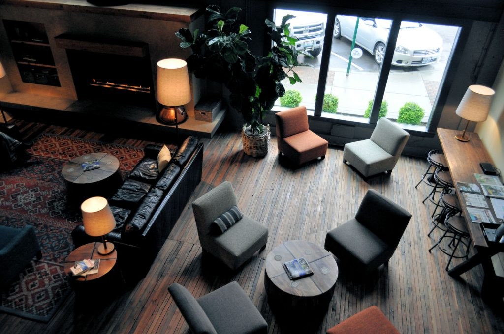 The lobby at the Inn at Lynden in Lynden, Washington.