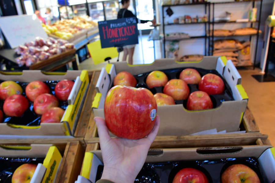 Honeycrisp apple at Wenatchee Valley Farms Market at Pybus Market.