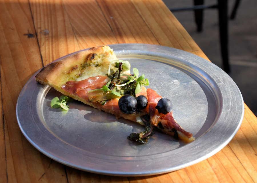 Blueberry pizza at McGlinn's Public House in Wenatchee, Washington.