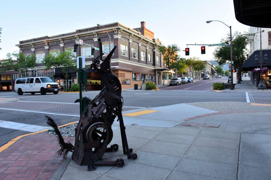 Coyote sculpture in downtown Wenatchee, Washington.