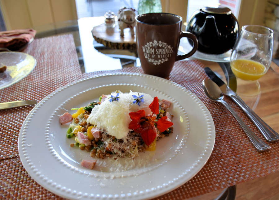 Gourmet breakfast at Warm Springs Inn & Winery in Wenatchee, Washington.