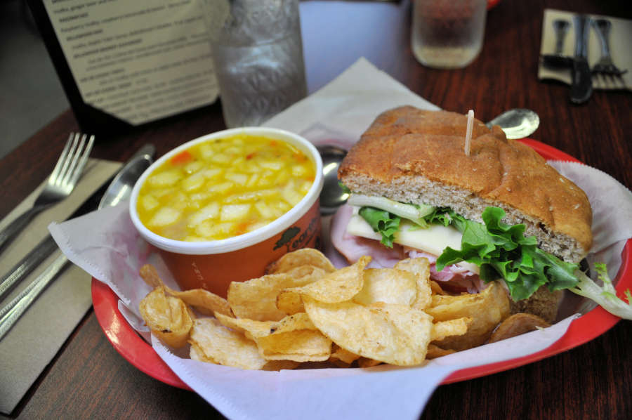 A ham sandwich and apple curry soup at Bellewood Acres. in Lynden, Washington