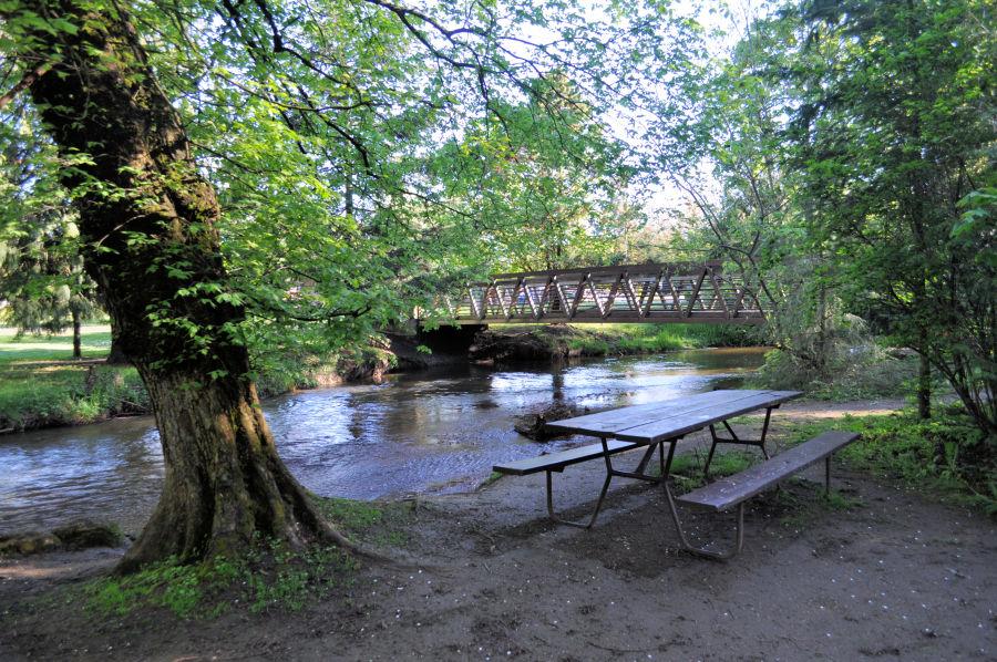 Picnic tables at Lynden City Park.
