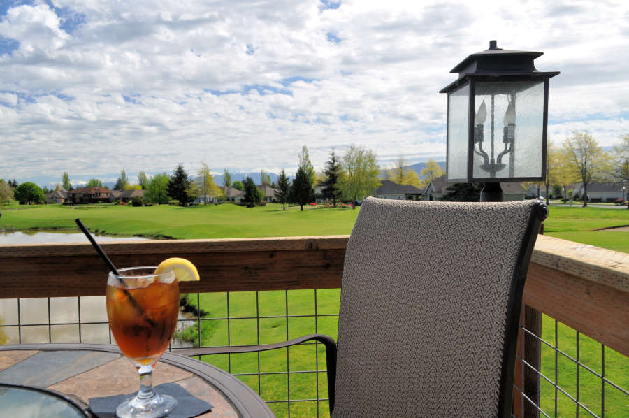 Outside dining at Steakhouse 9 in Lynden, Washington.