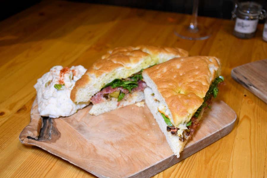 Focacia sandwich t Drizzle Tasting Room & Kitchen in Lynden, Washington.
