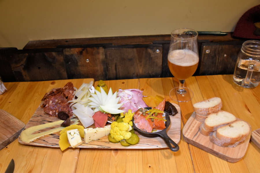 Meat and cheese platter at Drizzle Tasting Room & Kitchen in Lynden, Washington.
