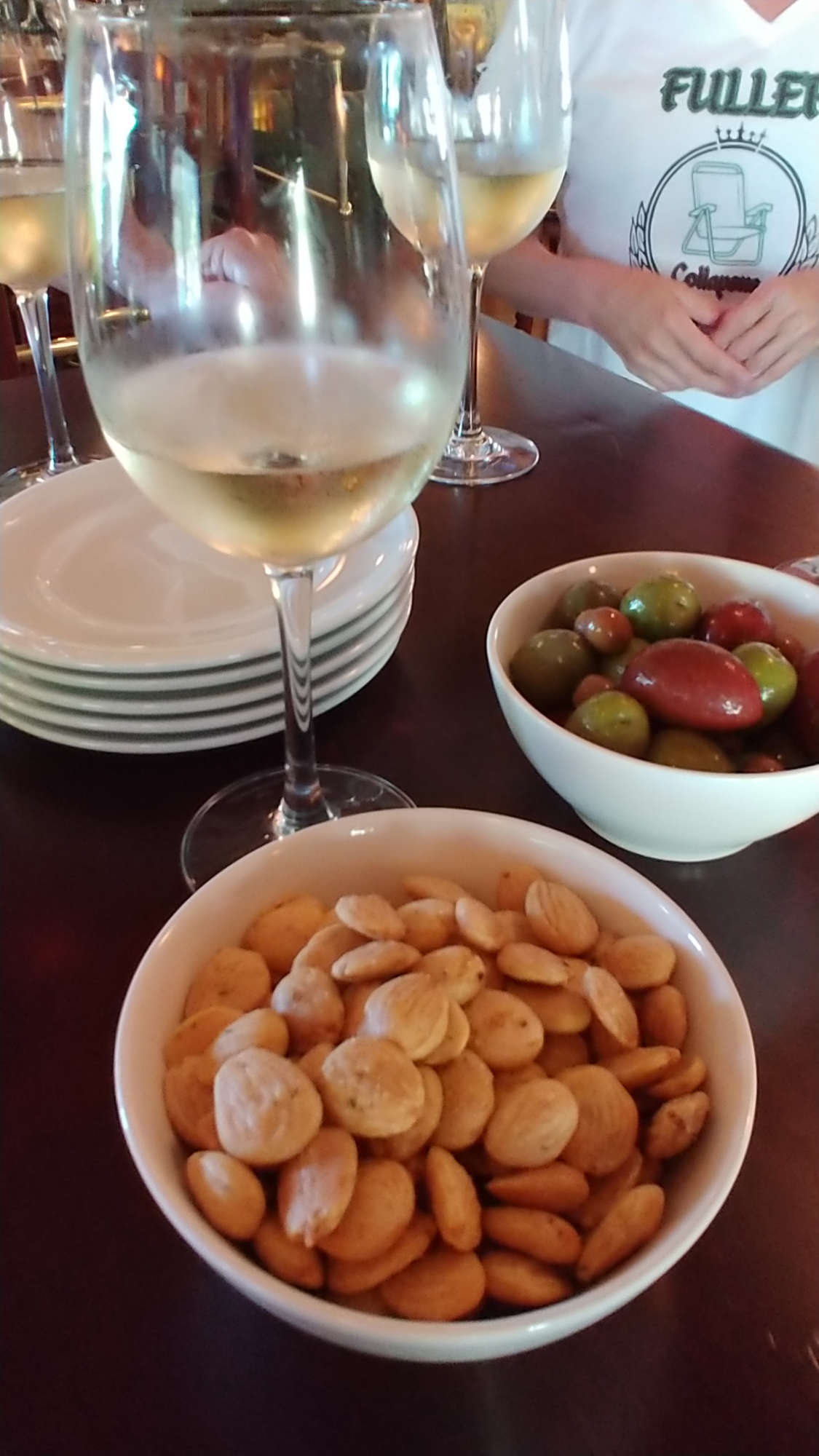 Almonds, olives and The Orcas Project Pinot Gris.