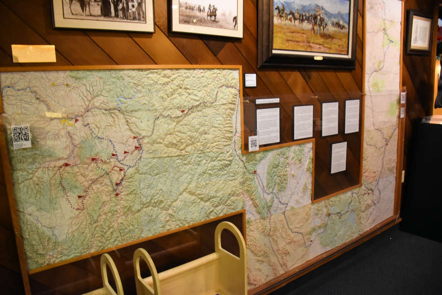 Chief Joseph trail ride map at the Appaloosa Museum.