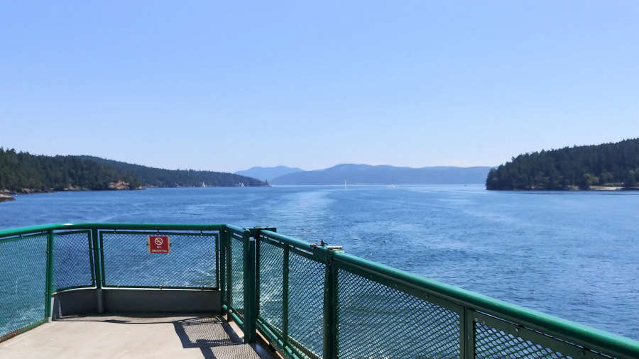A nearly empty ferry in the San Juan Islands.
