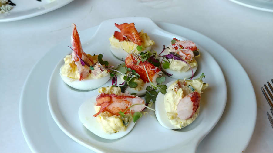 Deviled eggs with lobster at Cafe Nola.