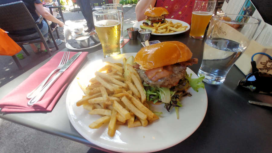 Bacon cheeseburger at Tavern on the Square at McMenamins Anderson School.