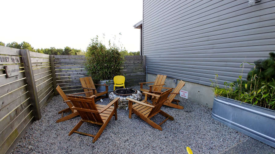Outdoor fire pit at Adrift Hotel + Spa in Long Beach, Washington.