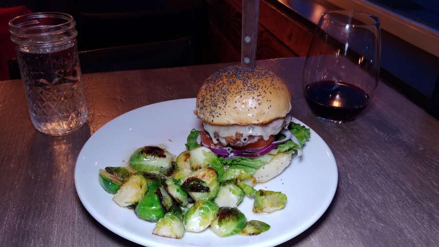 Hamburger from [pickled fish] in Long Beach, Washington.