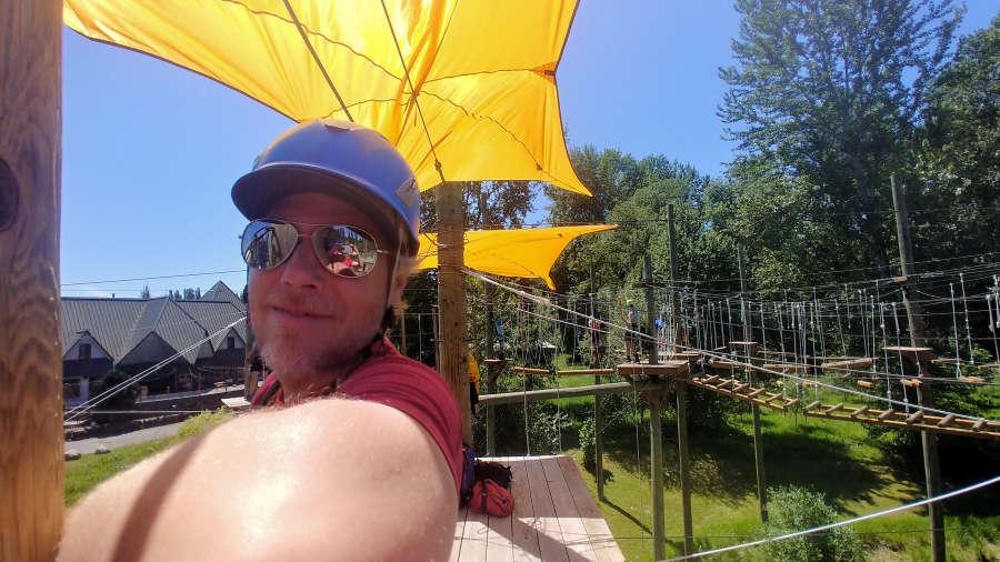 Fun at Adventura Aerial Adventure Park in Woodinville, Wahsington.