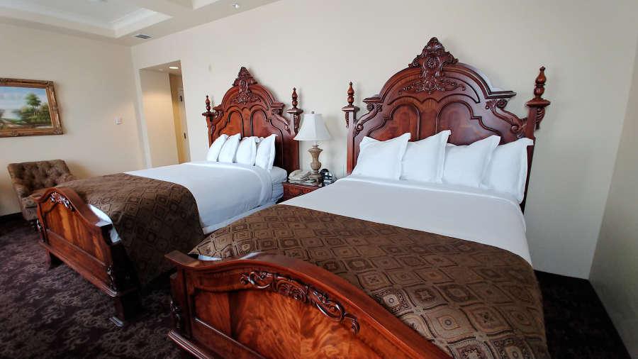 Guest room at The Historic Davenport Hotel in Spokane, Washington.