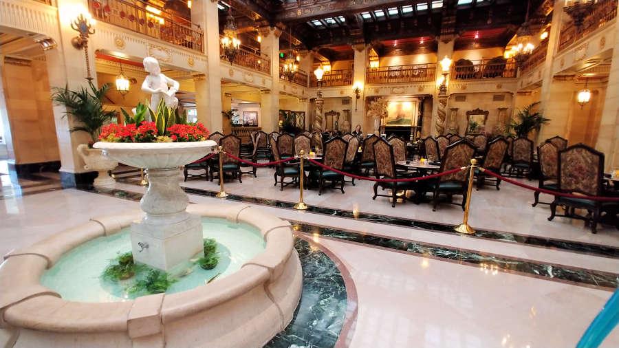 The lobby at The Historic Davenport Hotel in Spokane, Washington.