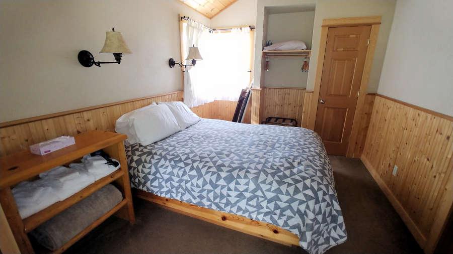 The cabin bedroom at the River Run Inn.
