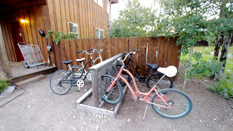 Complimentary bicycles at River Run Inn in Winthrop, Washington.