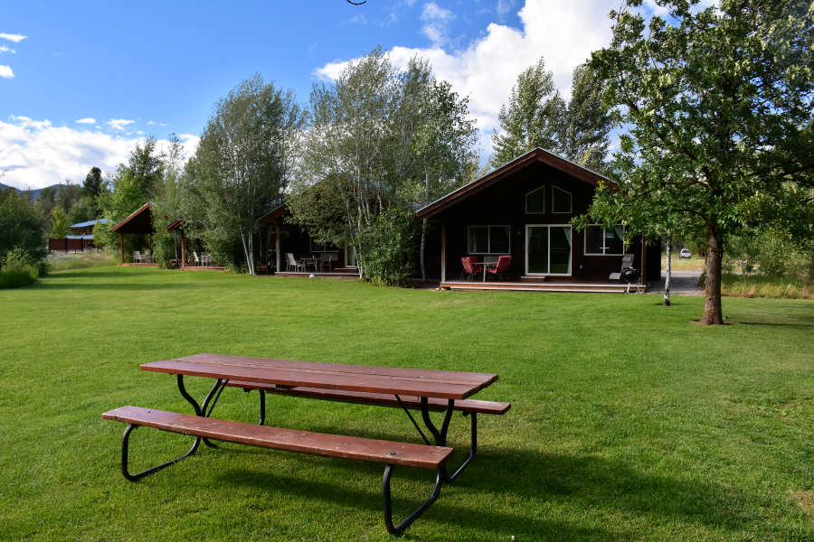 The cabins at the River Run Inn in Winthrop, Washington.