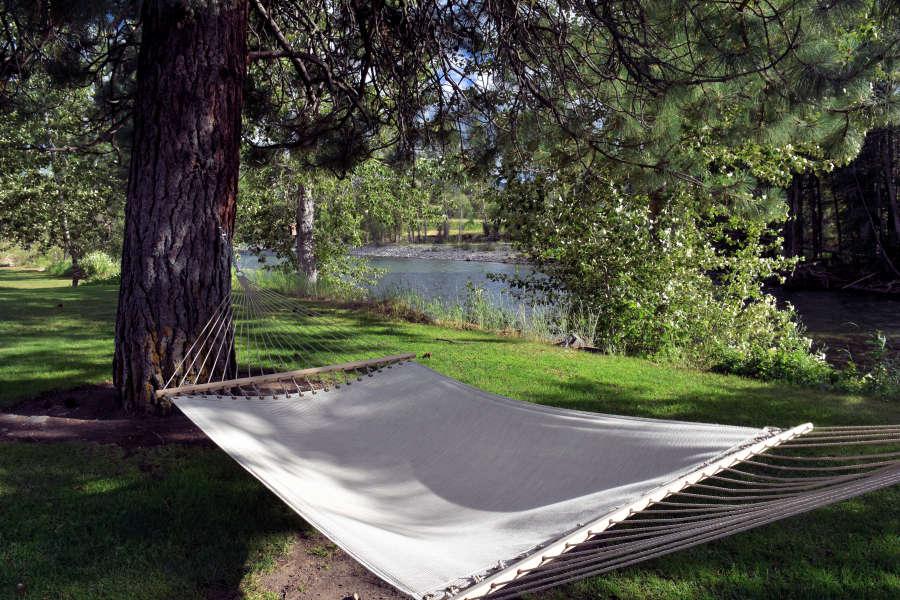 A hammock at the River Run Inn in Winthrop, Washington.