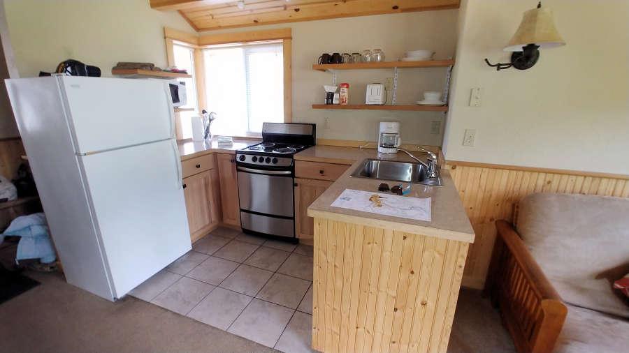 The cabin kitchen at the River Run Inn.