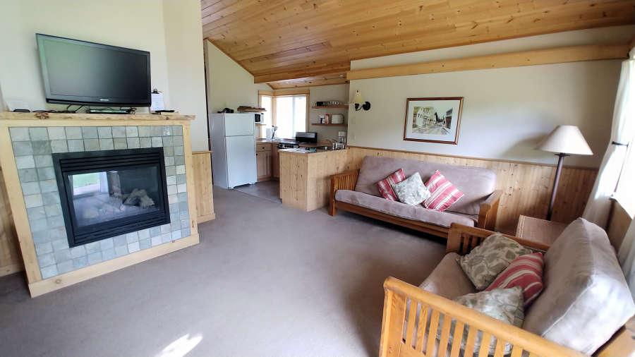 The cabin living room at the River Run Inn.