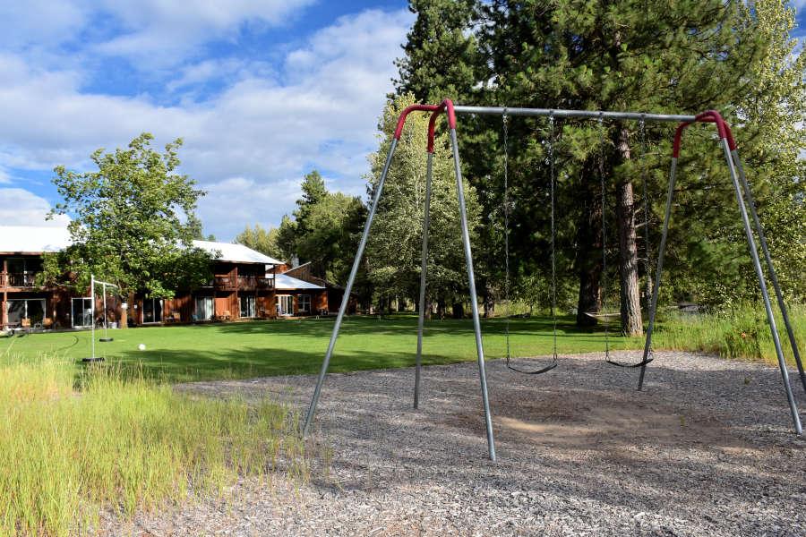 The swing set at River Run Inn in Winthrop, Washington.