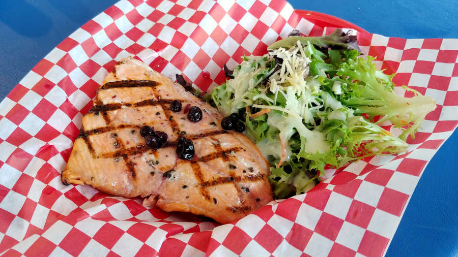 Grilled salmon with huckleberries at Bob's Chowder in Anacortes, Washington.