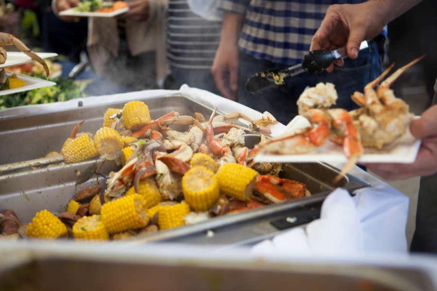 Crab dinner at SeaFeast in Bellingham, Washington.