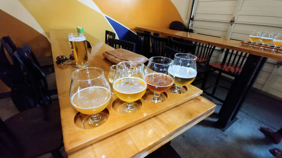 Beer flight at Airways Brewing in Kent, Washington.