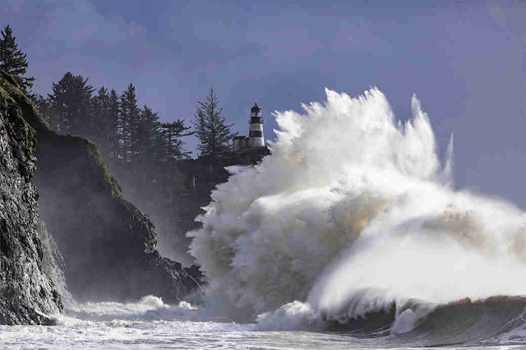 Storm waves crashing at Cape Disappointment in Washington State.