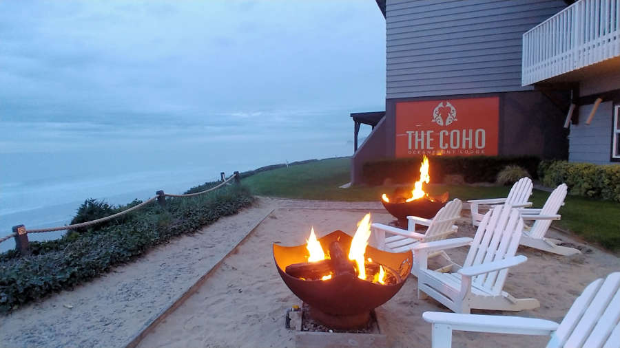 Communal fire pit at The Coho Oceanfront Lodge in Lincoln City, Oregon.