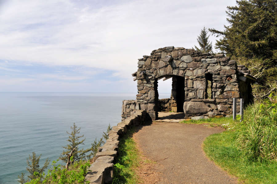 The Civllian Conservation Corps shelter built in the 1930s at Cape Perpetua Headlands.